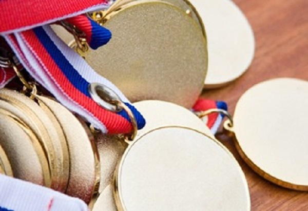 Gold medals before delivery to champions.